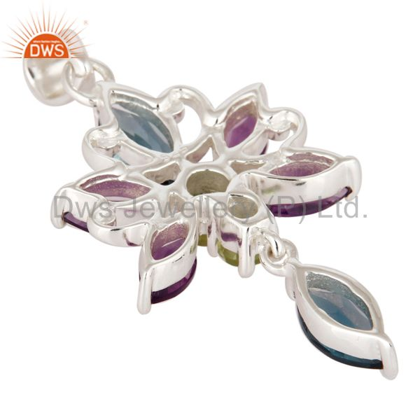 Suppliers 925 Sterling Silver London Blue Topaz / Peridot And Amethyst Designer Pendant