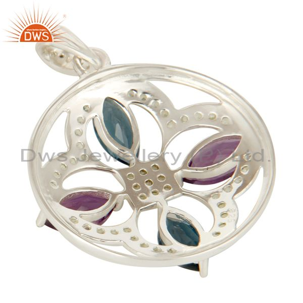 Suppliers 925 Sterling Silver Green Amethyst, London Amethyst And Peridot Pendant