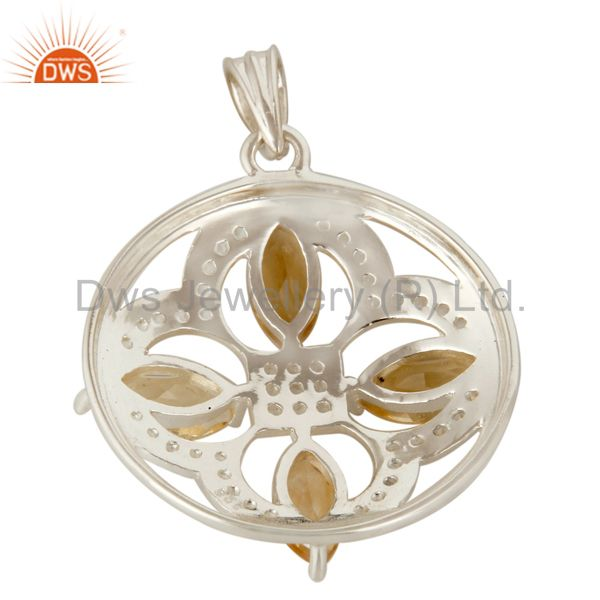 Suppliers Genuine Citrine And White Topaz 925 Sterling Silver Floral Designs Pendant