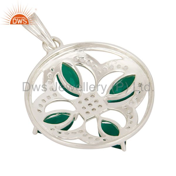 Suppliers Natural Green Onyx 925 Sterling Silver Unique Design Pendant With White Topaz