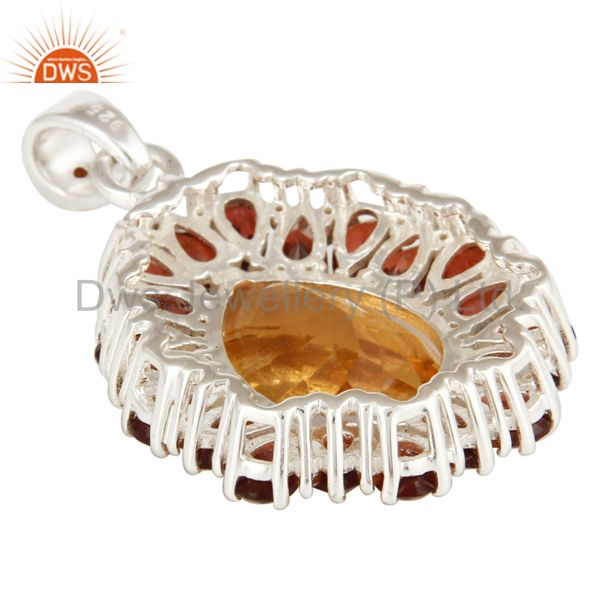 Suppliers Natural Citrine And Garnet Solitaire 925 Sterling Silver Pendant