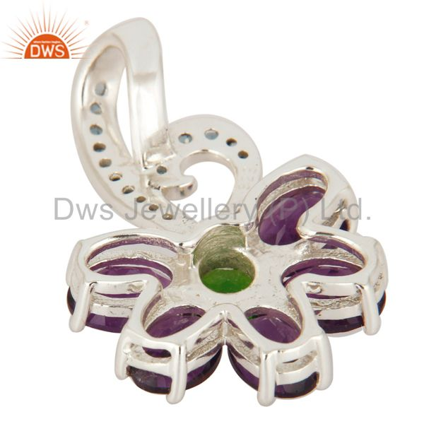 Suppliers Natural Amethyst, Blue Topaz And Chrome Diopside Pendant In 925 Sterling Silver