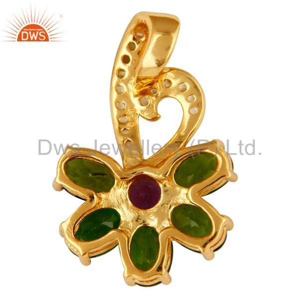 Suppliers Peridot, Amethyst And Chrome Dispose 18K Gold Plated Sterling Silver Pendant