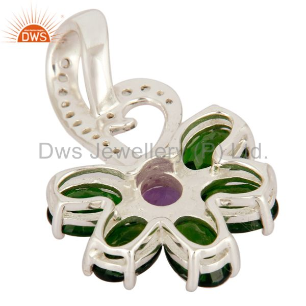 Suppliers Natural Amethyst And Chrome Diopside Sterling Silver Designer Pendant With Topaz