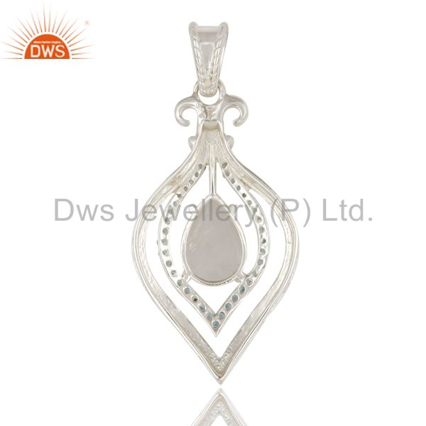 Suppliers Natural Rainbow Moonstone and Blue Topaz 925 Sterling Silver Designer Pendant