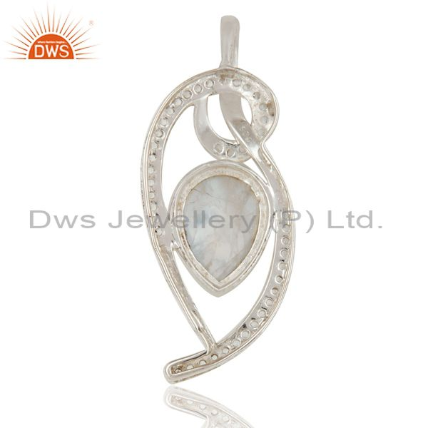 Suppliers 925 Sterling Silver Rainbow Moonstone And White Topaz Pendant For Womens