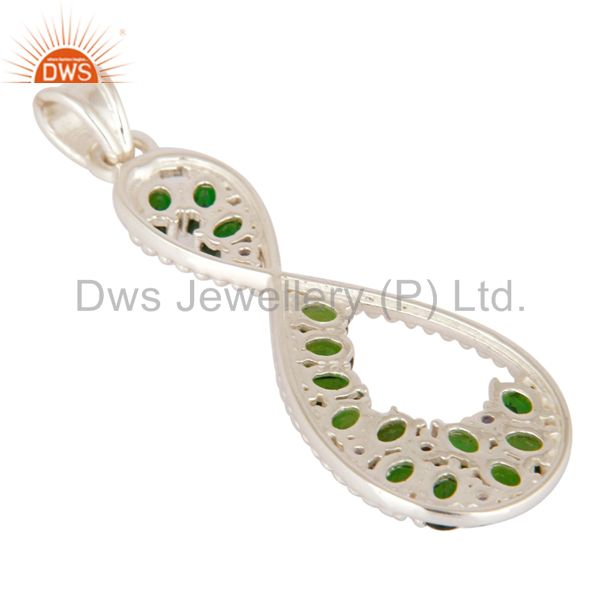Suppliers Oval Cut Natural Green Chrome Diopside And Iolite 925 Sterling Silver Pendant