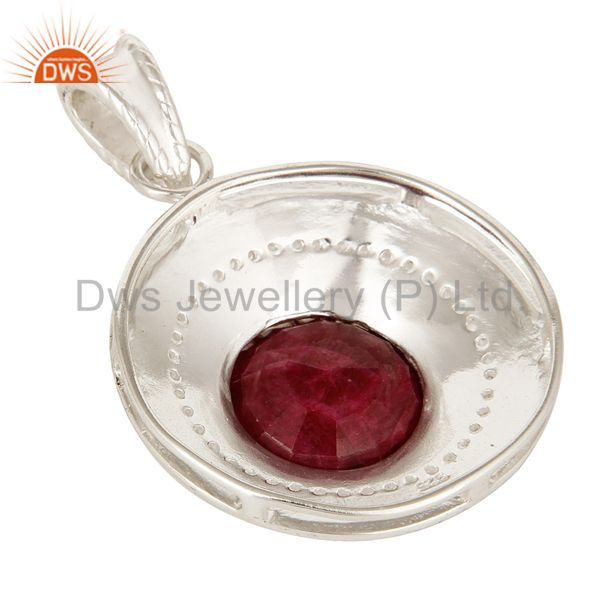 Suppliers 925 Sterling Silver Red Corundum And White Topaz Prong Set Circle Pendant
