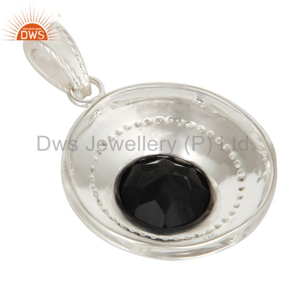 Suppliers Handmade Sterling Silver Black Onyx And White Topaz Disc Pendant