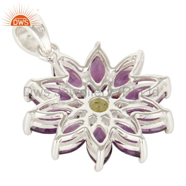 Suppliers Natural Amethyst And Peridot Solid Sterling Silver Solitaire Pendant