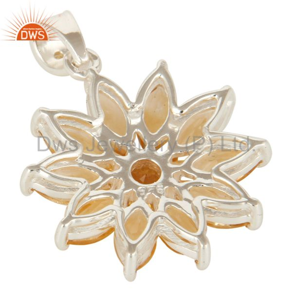 Suppliers Solid Sterling Silver Natural Citrine Gemstone Floral Cluster Pendant
