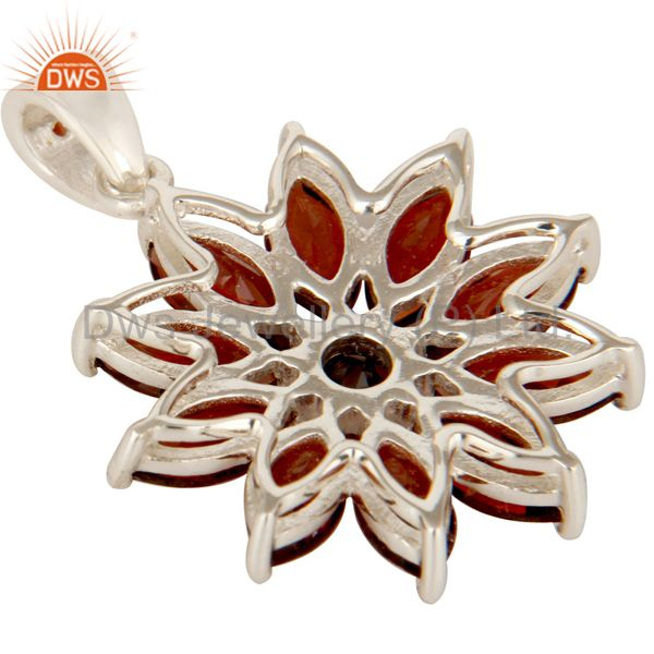 Suppliers 925 Sterling Silver Marquise Cut Garnet Gemstone Floral Design Pendant