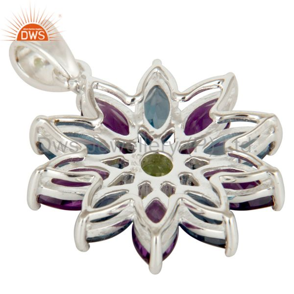 Suppliers 925 Sterling Silver Amethyst London Blue Topaz and Peridot Design Pendant
