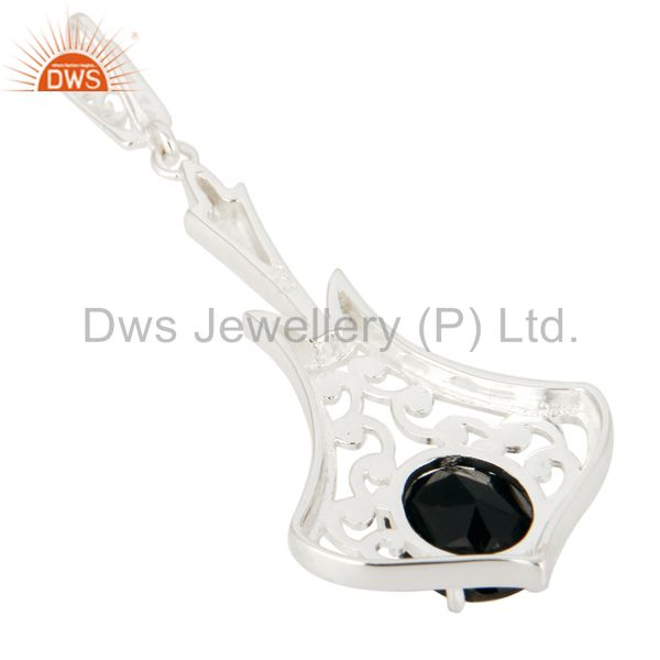 Suppliers Faceted Black Onyx Gemstone Solid Sterling Silver Pendant
