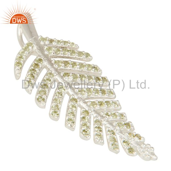Suppliers Natural Peridot Gemstone Designer Look Leaf Pendant In Sterling Silver