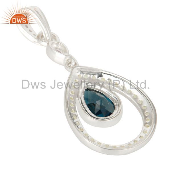 Suppliers Natural Blue Topaz, Peridot And Amethyst Sterling Silver Pendant