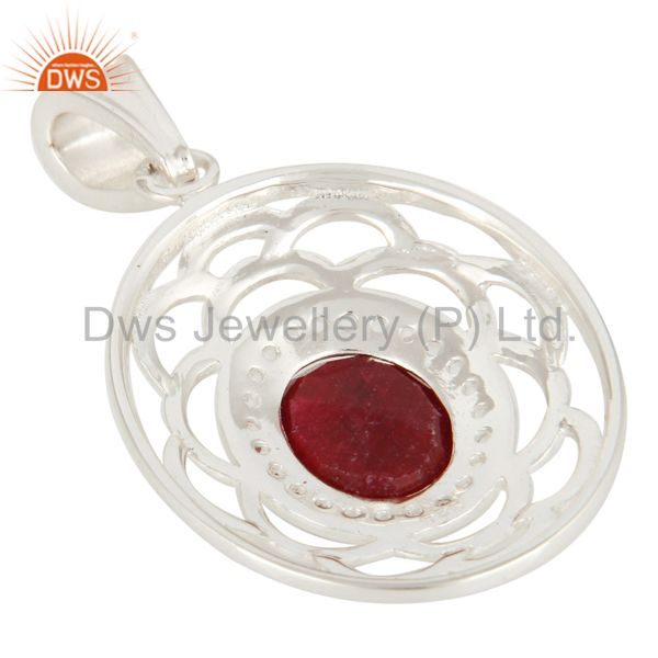 Suppliers White Topaz And Red Corundum Gemstone Genuine Sterling Silver Pendant