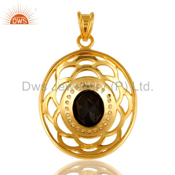 Suppliers 925 Sterling Silver Black Onyx And White Topaz Pendant - Yellow Gold Plated