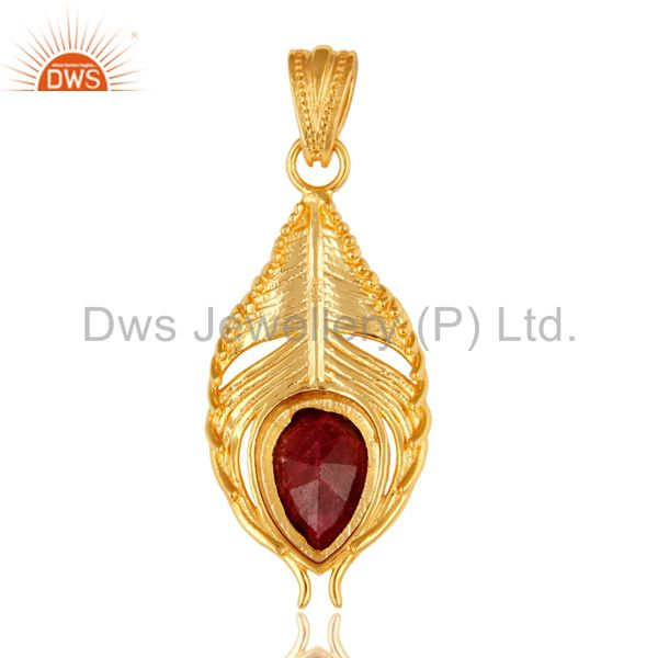 Suppliers Gold Plated Ruby Corundum Sterling Silver Peacock Feather Pendant