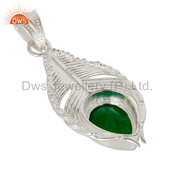Suppliers 925 Sterling Silver Green Aventurine Gemstone Peacock Feather Pendant