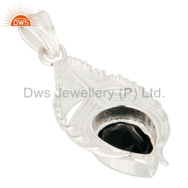 Suppliers 925 Sterling Silver Peacock Feather Pendant With Natural Black Onyx Gemstone
