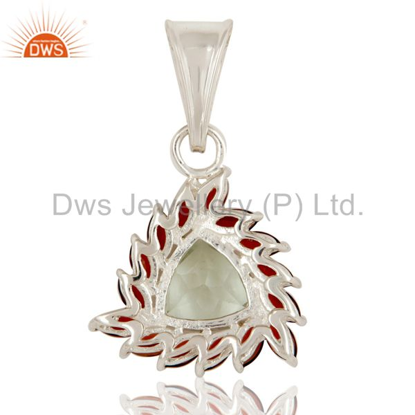 Suppliers Trillion Cut Green Amethyst & Garnet Sterling Silver Solitaire Gemstone Pendant