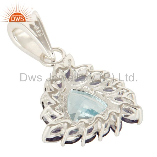 Suppliers Trillion Cut Blue Topaz And Iolite Sterling Silver Solitaire Gemstone Pendant