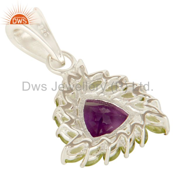 Suppliers Natural Purple Amethyst And Peridot Sterling Silver Designer Cluster Pendant