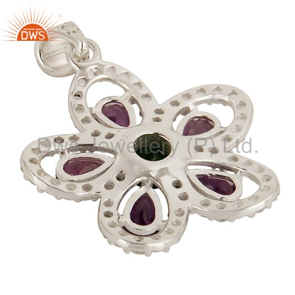 Suppliers Designer Amethyst, Peridot And Chrome Diopside Sterling Silver Flower Pendant