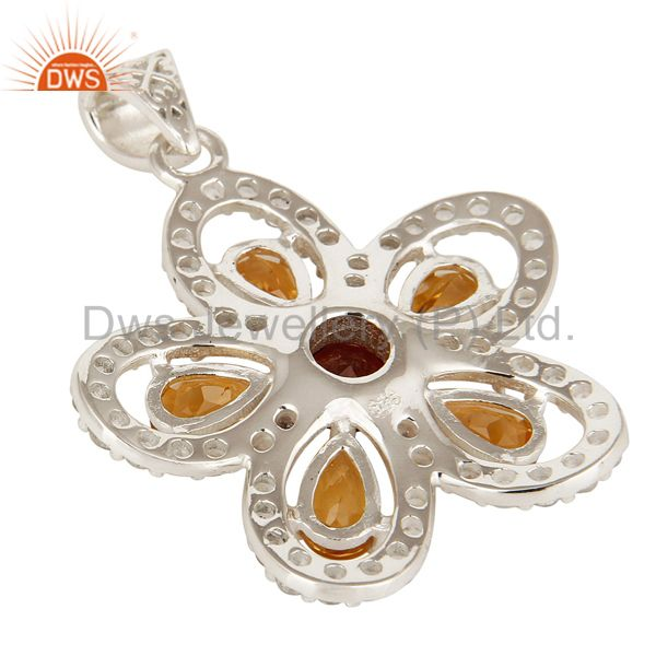 Suppliers 925 Sterling Silver Citrine, Garnet And White Topaz Flower Designer Pendant