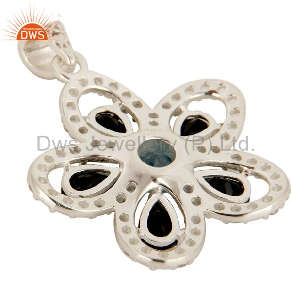 Suppliers 925 Sterling Silver Blue Topaz And Black Onyx Flower Pendant With White Topaz