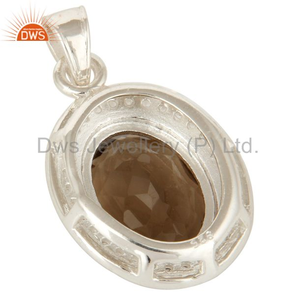 Suppliers 925 Sterling Silver Smoky Quartz And White Topaz Pendant