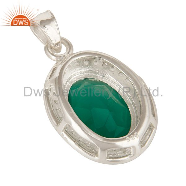 Suppliers Faceted Green Onyx And White Topaz  Sterling Silver Prong Set Gemstone Pendant