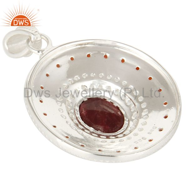 Suppliers Natural Garnet And Ruby Corundum 925 Sterling Silver Designer Pendant