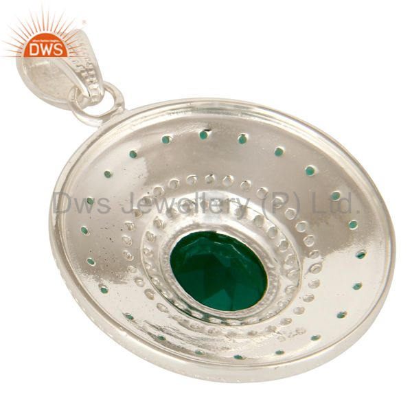 Suppliers 925 Sterling Silver Green Onyx And White Topaz Fine Gemstone Designer Pendant