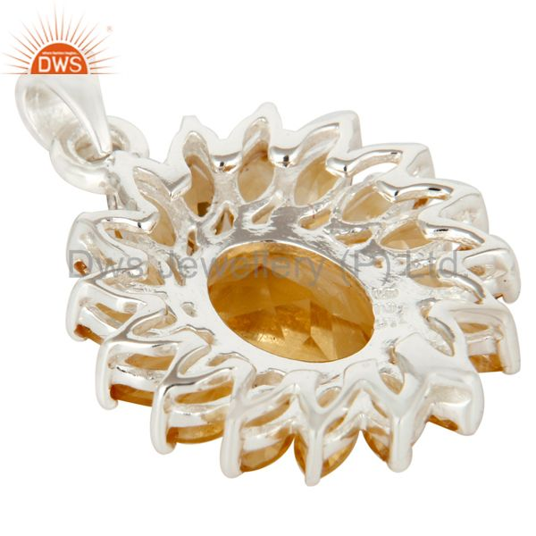 Suppliers 925 Sterling Silver Citrine Gemstone Cluster Flower Designer Pendant