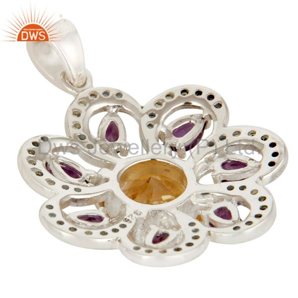 Suppliers Sterling Silver Amethyst, Citrine And Blue Topaz Gemstone Pendant With Peridot