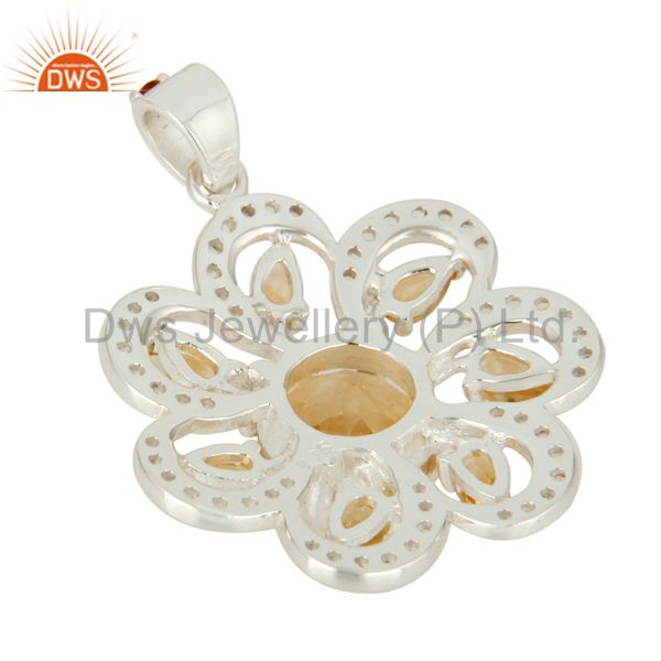 Suppliers Genuine Citrine And White Topaz Sterling Silver Floral Design Pendant