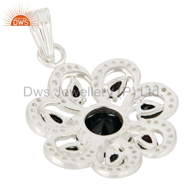 Suppliers Natural Black Onyx Sterling Silver Solitaire Flower Pendant With White Topaz