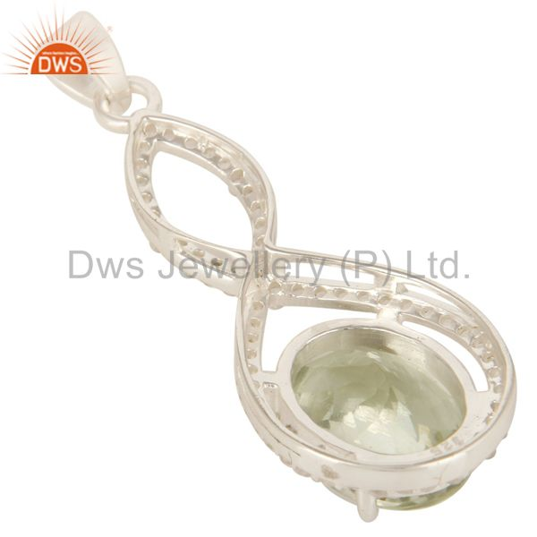 Suppliers 925 Sterling Silver Natural Green Amethyst With White Topaz Infinity Pendant