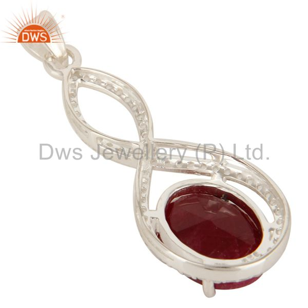 Suppliers 925 Sterling Silver Natural Ruby Corundum Prong Set Pendant With White Topaz