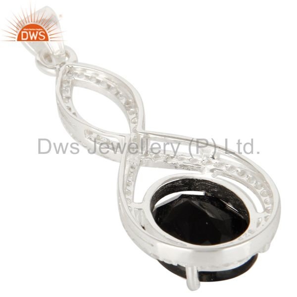 Suppliers 925 Sterling Silver Black Onyx Prong Set Gemstone Pendant With White Topaz