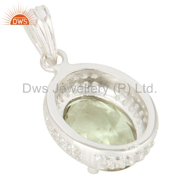 Suppliers 925 Sterling Silver Genuine Green Amethyst And White Topaz Pendant