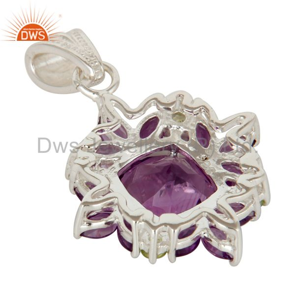 Suppliers Amethyst And Peridot Sterling Silver Prong Set Gemstone Flower Pendant