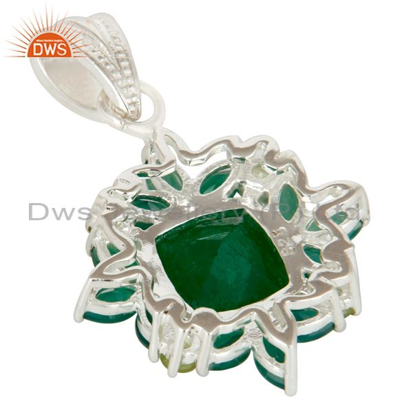 Suppliers Natural Green Aventurine And Peridot Sterling Silver Gemstone Cluster Pendant