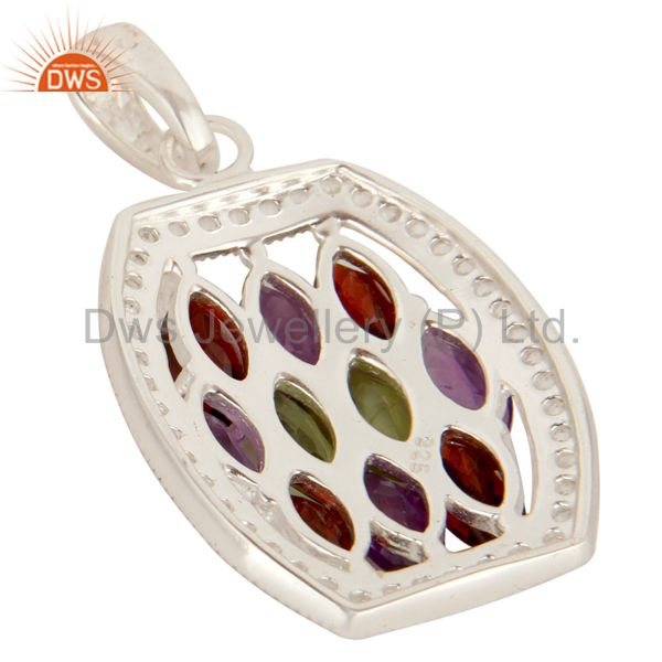 Suppliers Amethyst, Garnet And Peridot Sterling Silver Cluster Pendant With White Topaz