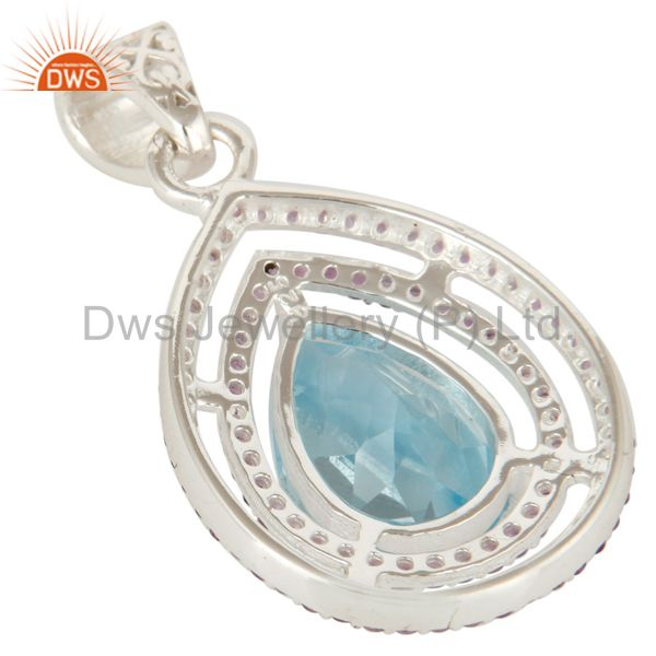 Suppliers 925 Sterling Silver Amethyst And Blue Topaz Gemstone Prong Set Cluster Pendant