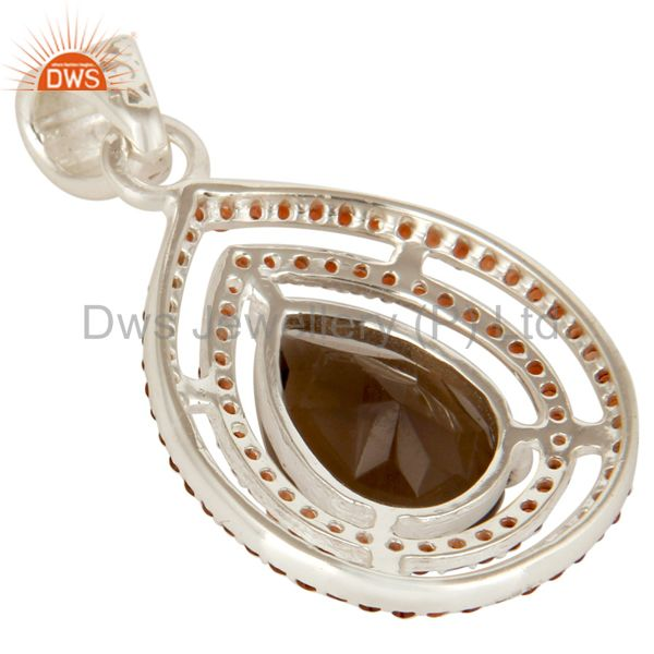 Suppliers Designer Garnet And Smoky Quartz Gemstone Sterling Silver Drop Pendant
