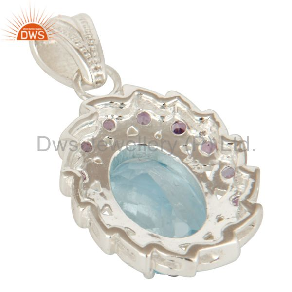 Suppliers 925 Sterling Silver Natural Amethyst With Blue Topaz Gemstone Cluster Pendant