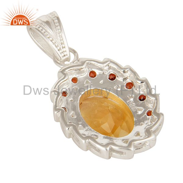 Suppliers 925 Sterling Silver Garnet And Citrine Gemstone Designer Cluster Pendant
